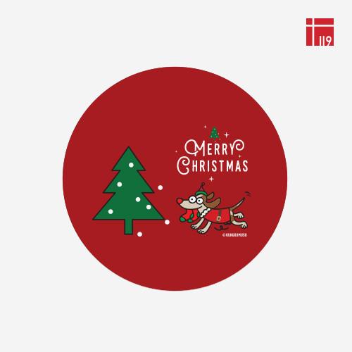 쿠쿠스무스 크리스마스 라운드 스티커 산타강아지(레드)/80매
